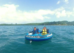 Kids tubing in the Caribbean with Never Winter Watersports
